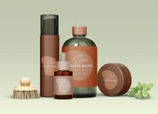 Free Spa Cosmetic Bottles Scene Mockup PSD (1)