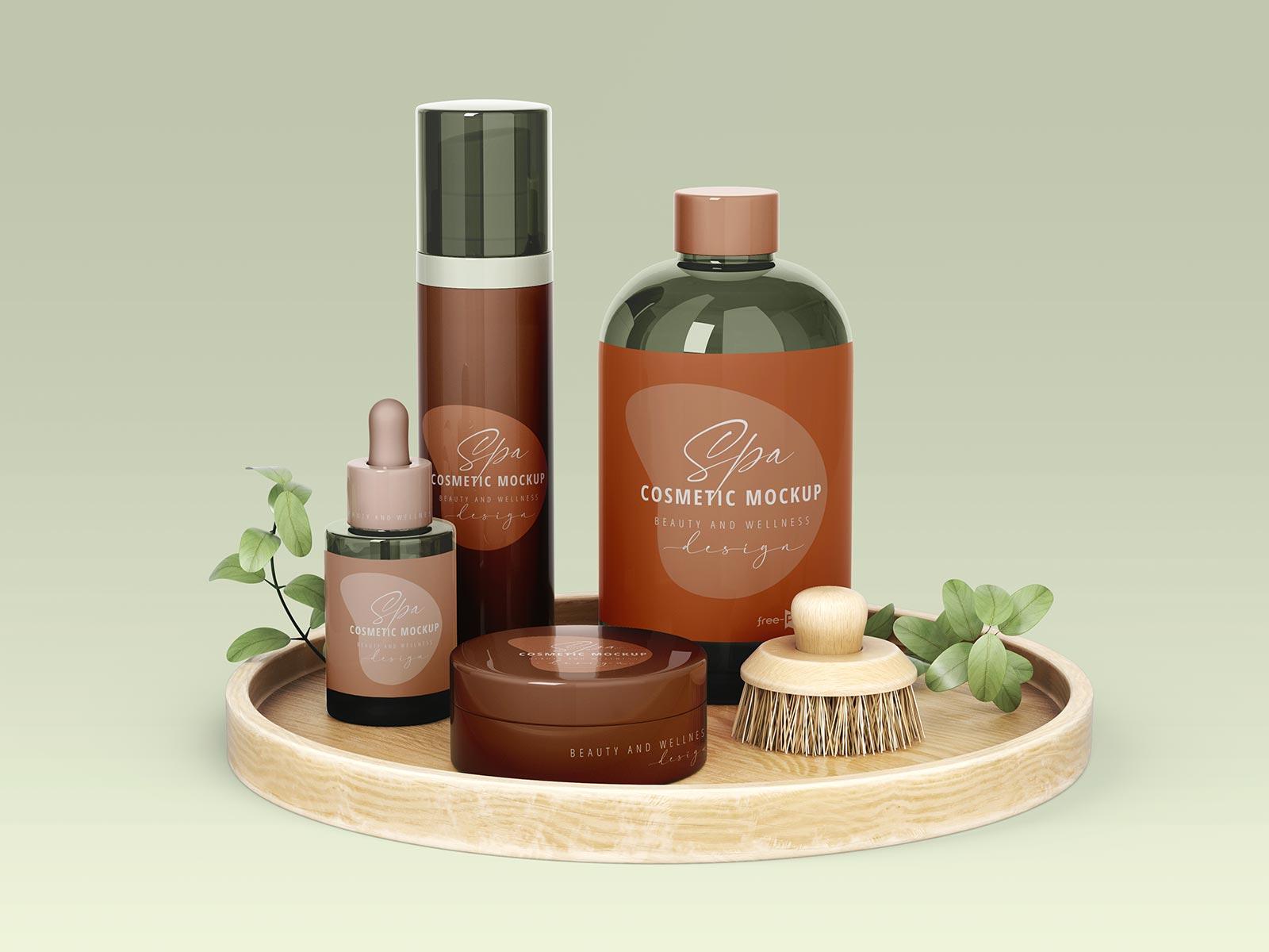 Free Spa Cosmetic Bottles Scene Mockup PSD (2)