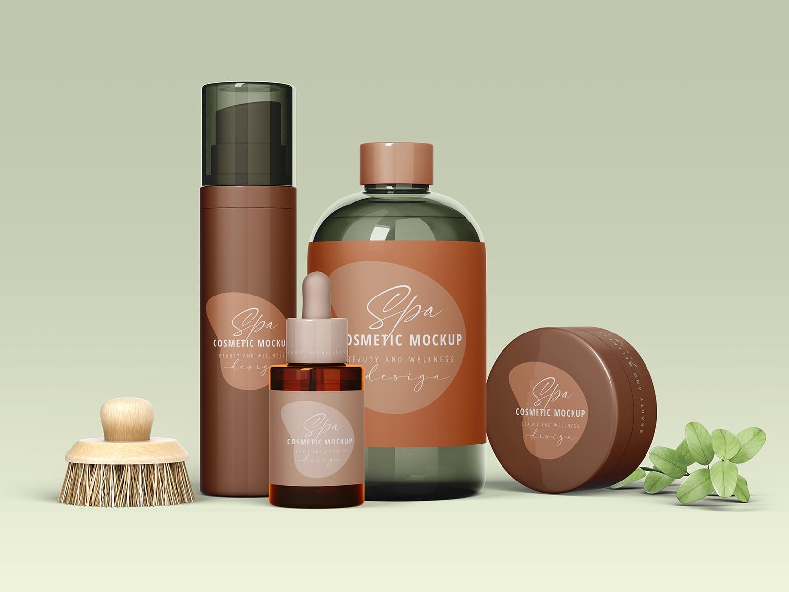 Free Spa Cosmetic Bottles Scene Mockup PSD (3)