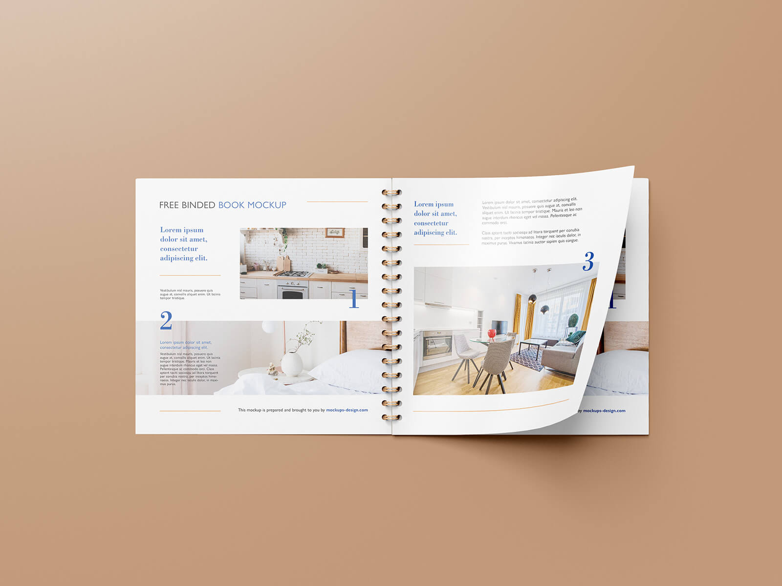 Free Square Wire-O Bound Brochure Mockup PSD