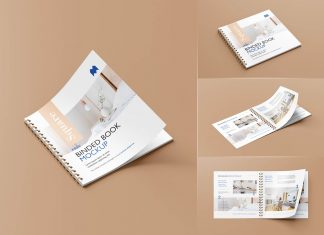 Free Square Wire-O Bound Brochure Mockup PSD