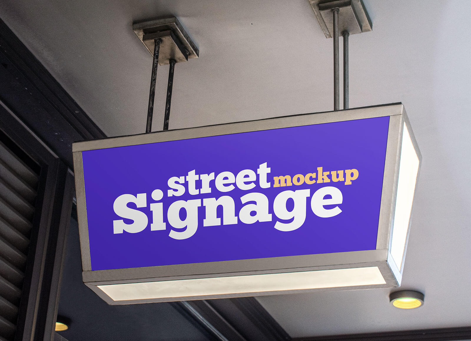 Free Trapezoid Shape Street Signboard Mockup PSD