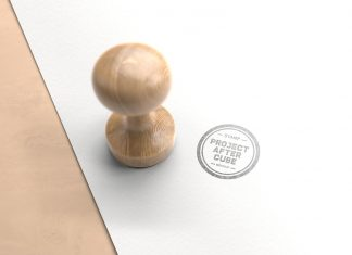 Free Wooden Round Shape Rubber Stamp Mockup PSD