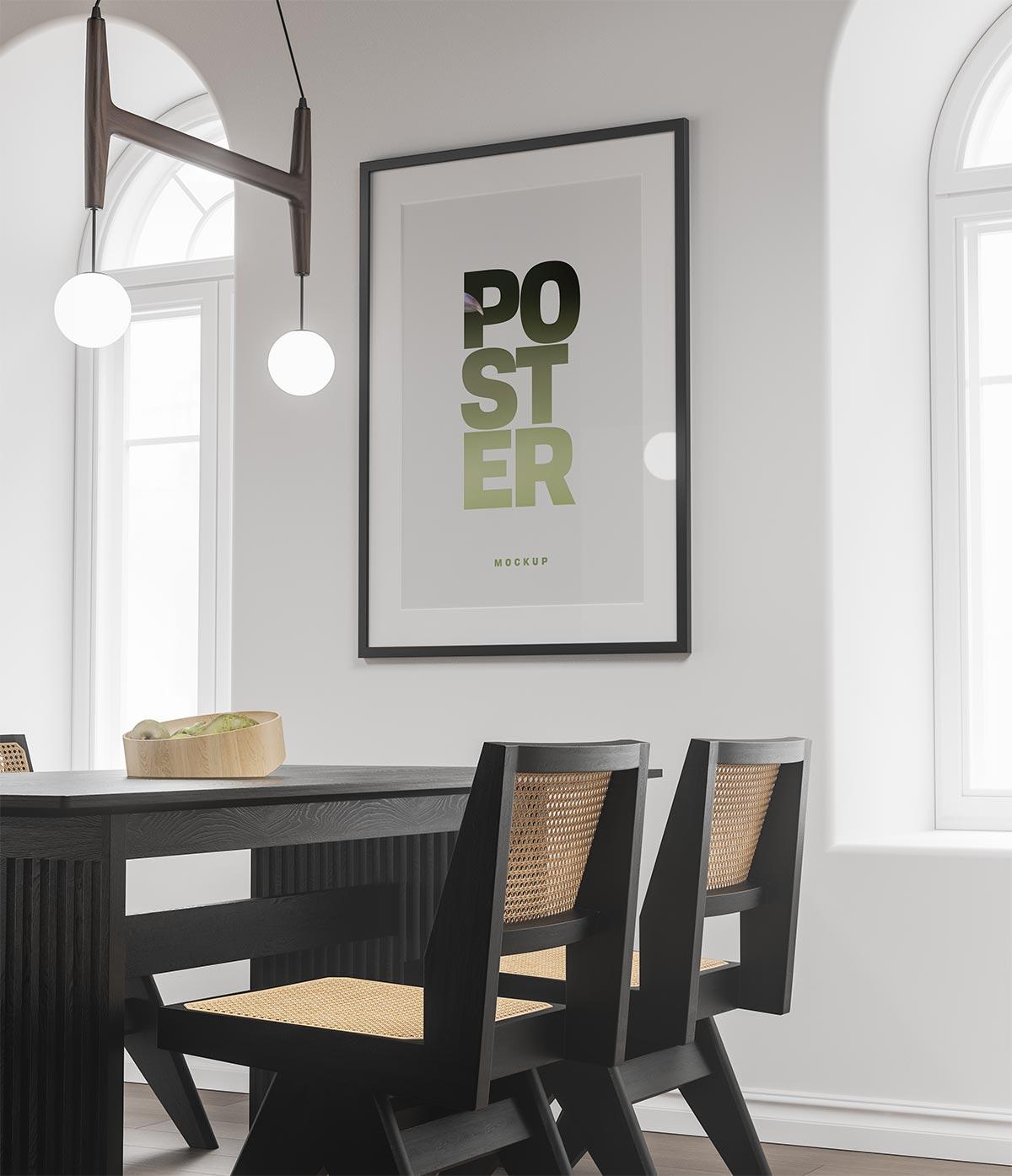 Free Dinning Room Poster Frame Mockup PSD