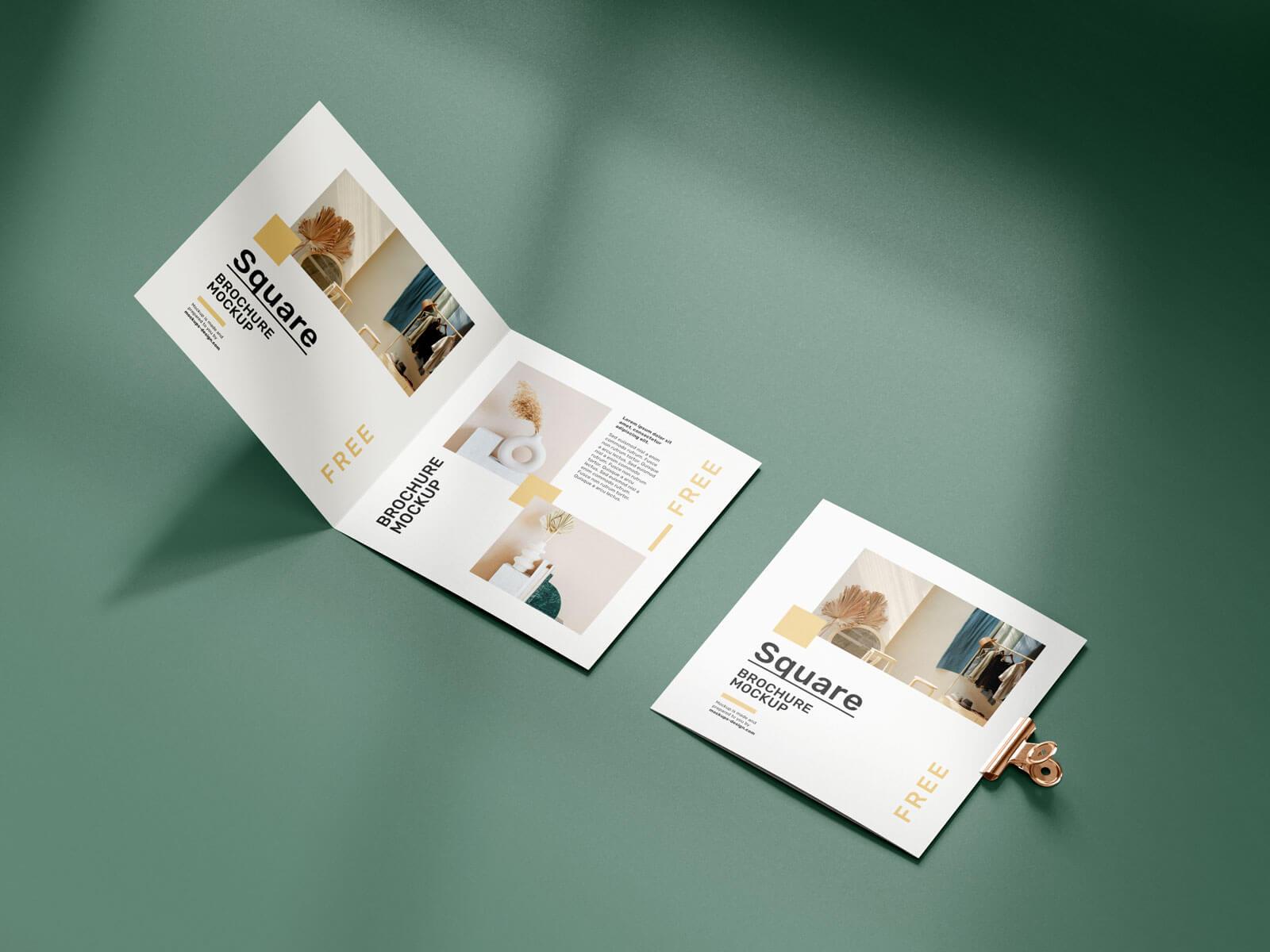 Free Bi-Fold Square Brochure Mockup PSD