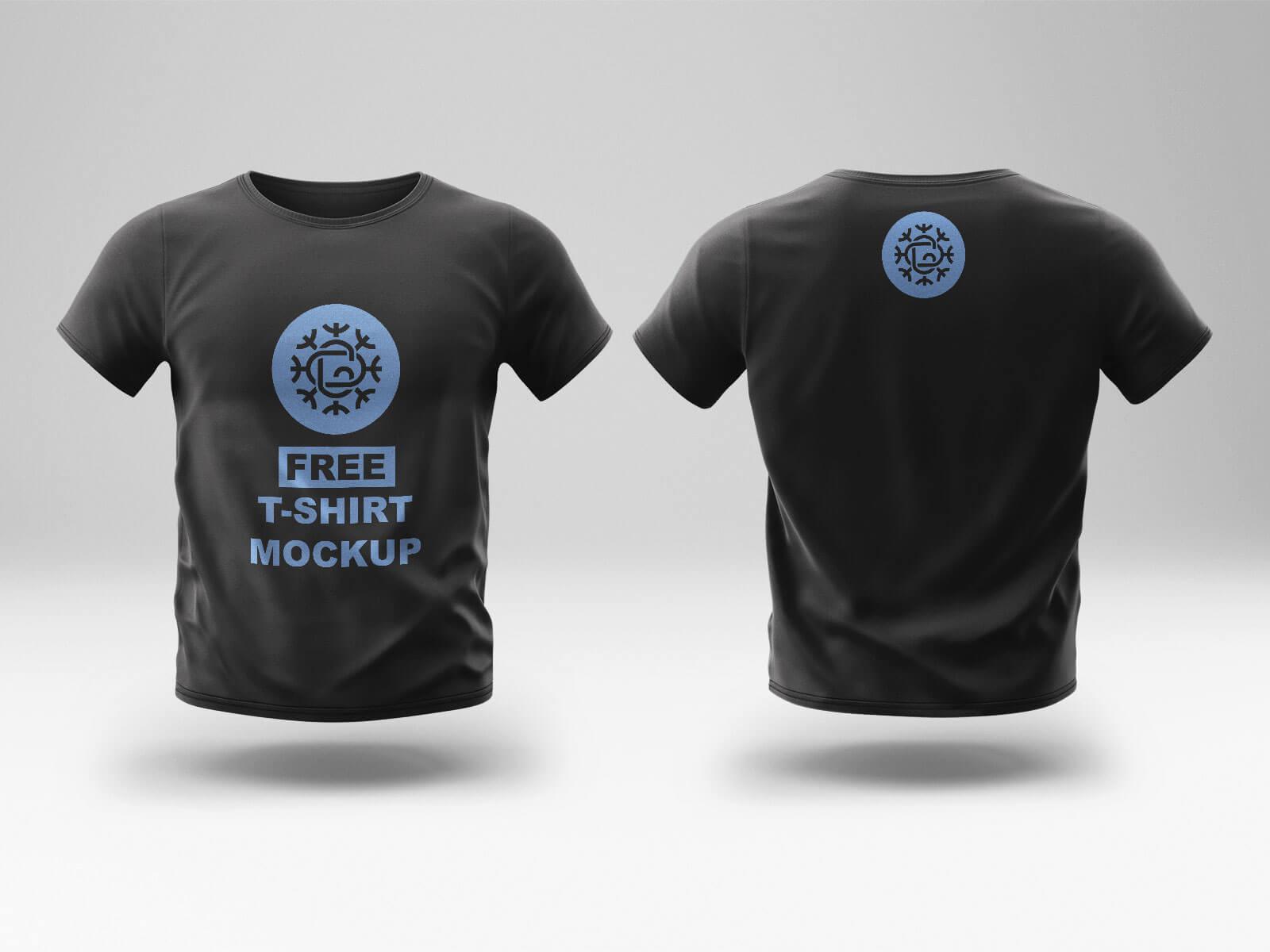 Free-Black-Front-&-Back-Tshirt-Mockup-PSD