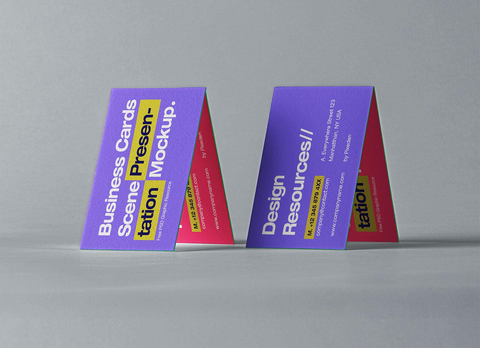 Free-Business-Cards-Scene-Presentation-Mockup-PSD