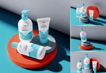 Free Cosmetic Set Of Bottles Mockup PSD (1)