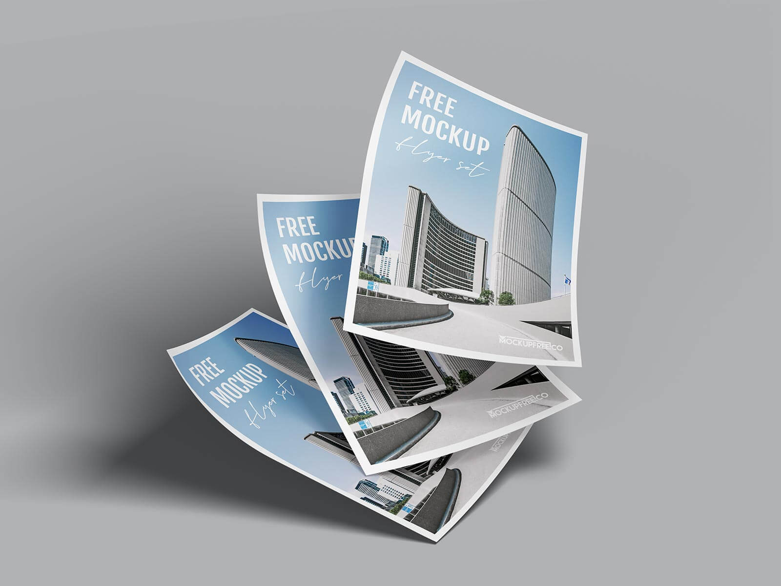 Free Curled Paper A4 Flyer Mockup PSD Set