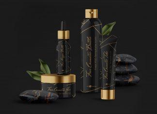 Free Glowing Cosmetic Bottle Mockup Scene PSD Set
