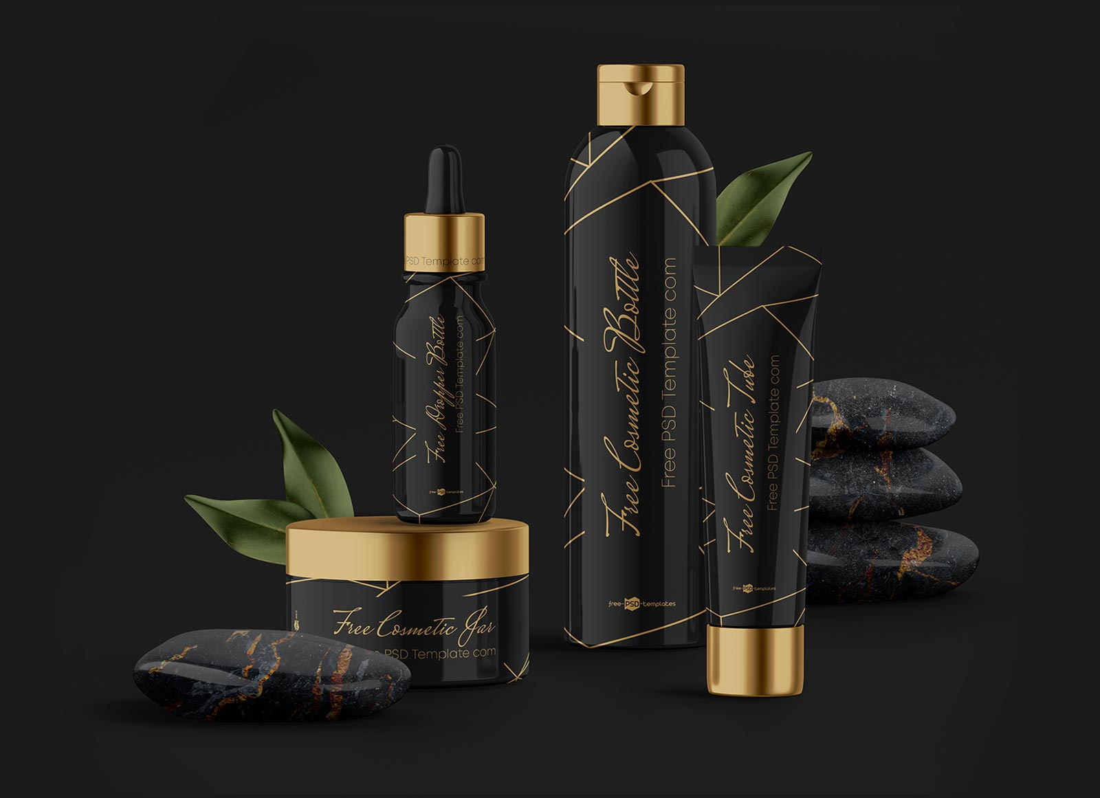 Free Glowing Cosmetic Bottle Mockup Scene PSD Set