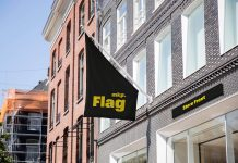 Free Hanging Store Flag & Front Board Mockup PSD