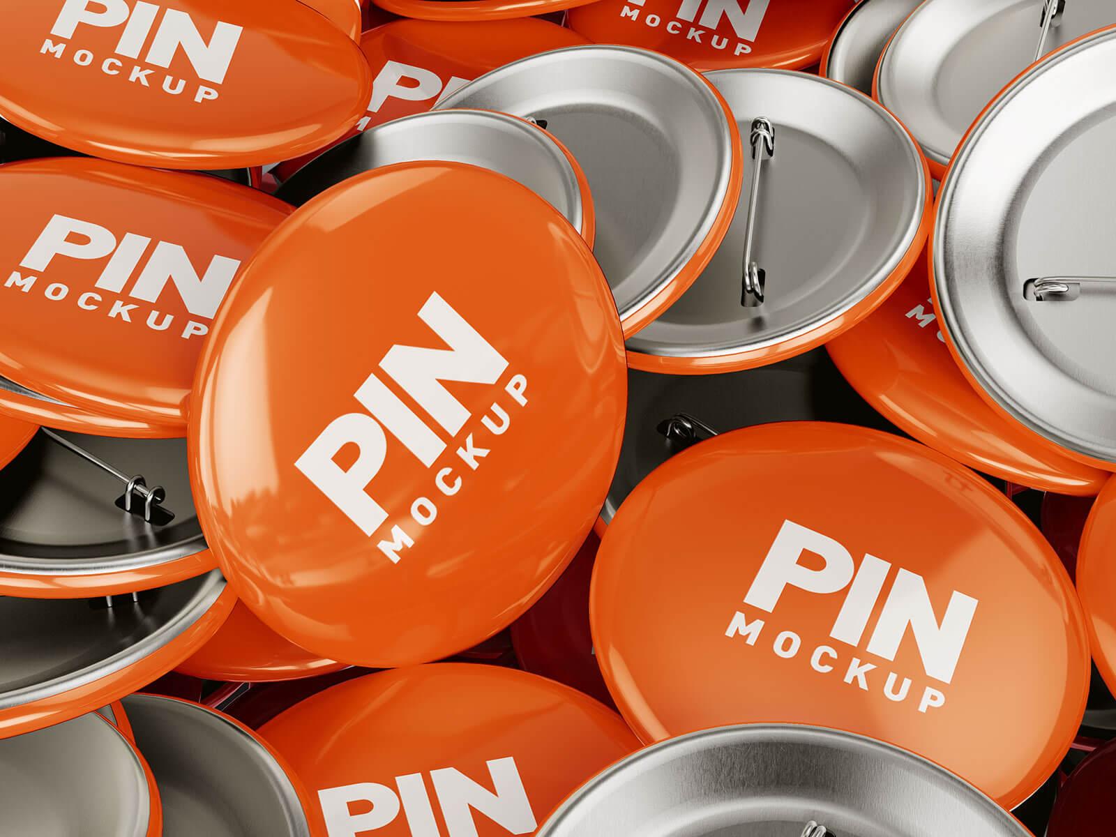 Free Jumbled Up Round Pin Badge Mockup PSD Set