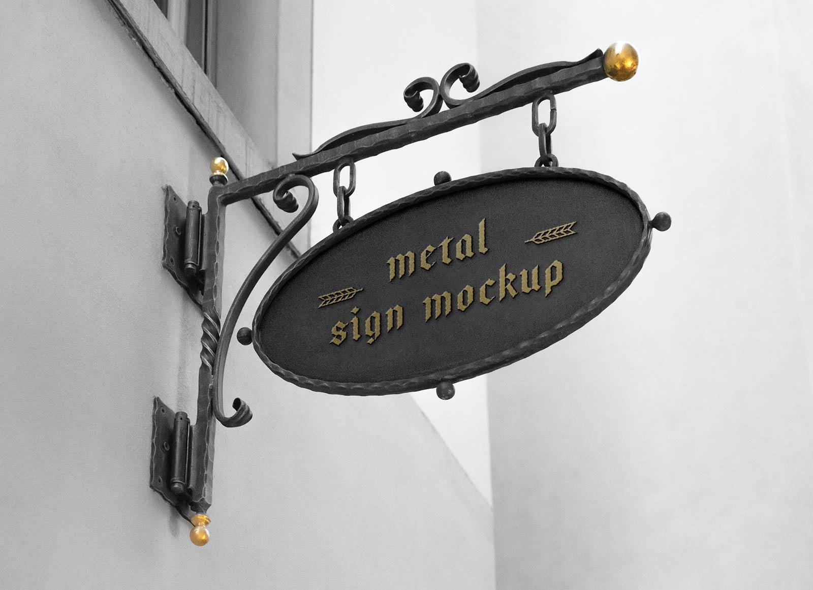 Free Mounted Metal Sign Mockup PSD
