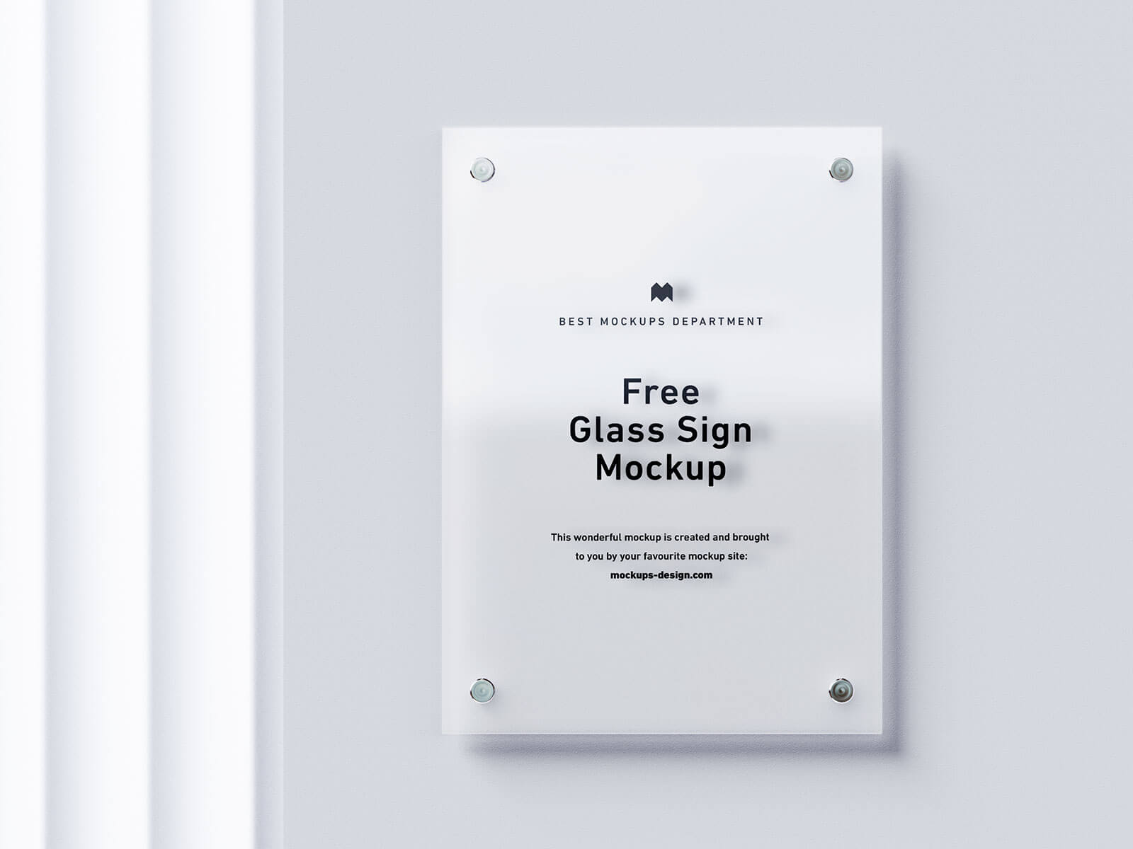 Free Wall Mounted Etched Glass Sign Mockup PSD Set