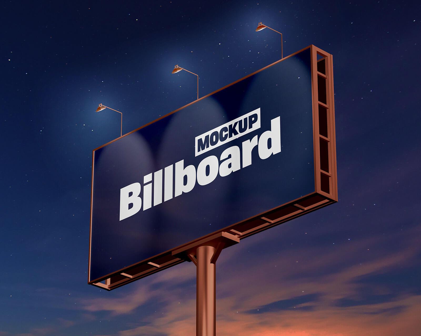 Free Night View Billboard Mockup PSD Set