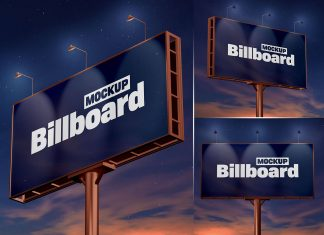 Free Night View Billboard Mockup PSD Set