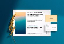 Free-A4-Landscape-&-Business-Card-Mockup-PSD