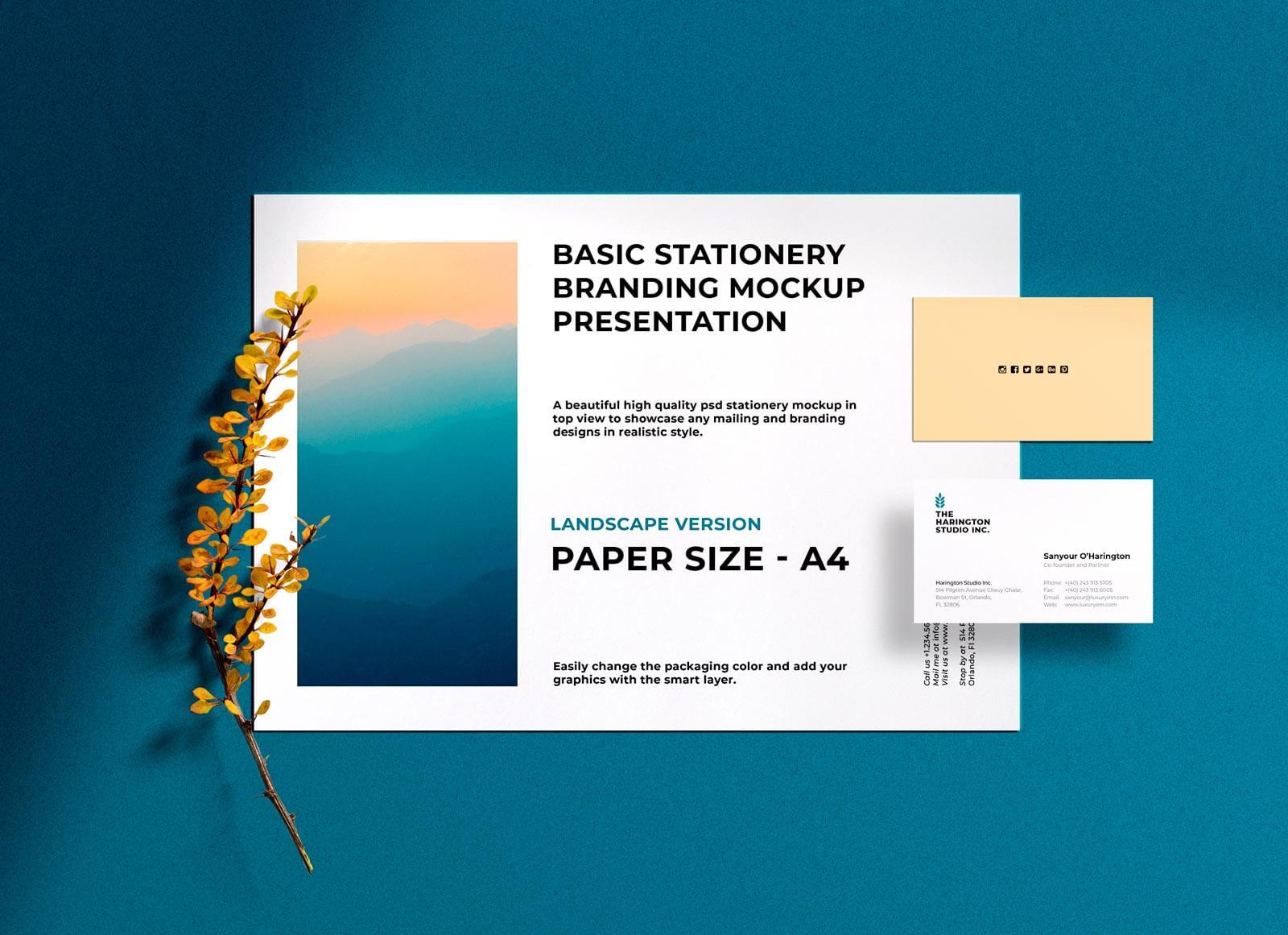 Free-A4-Landscape-&-Business-Card-Mockup-PSD
