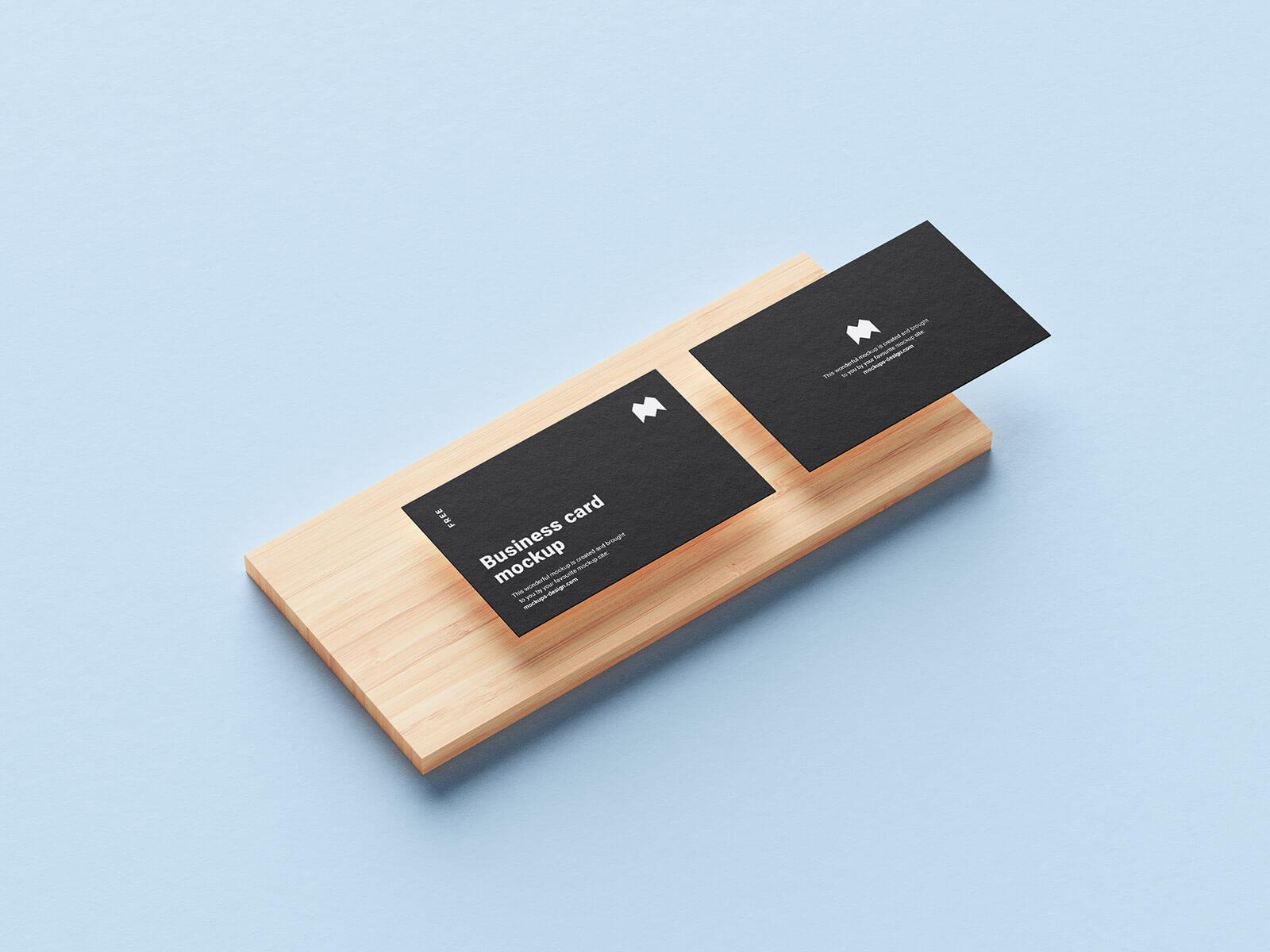 Free Business Card On Wooden Slab Mockup PSD