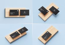 Free Business Card On Wooden Slab Mockup PSD (6)