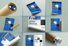 Free Curled Up Poster & Paper Tube Mockup PSD Set (12)