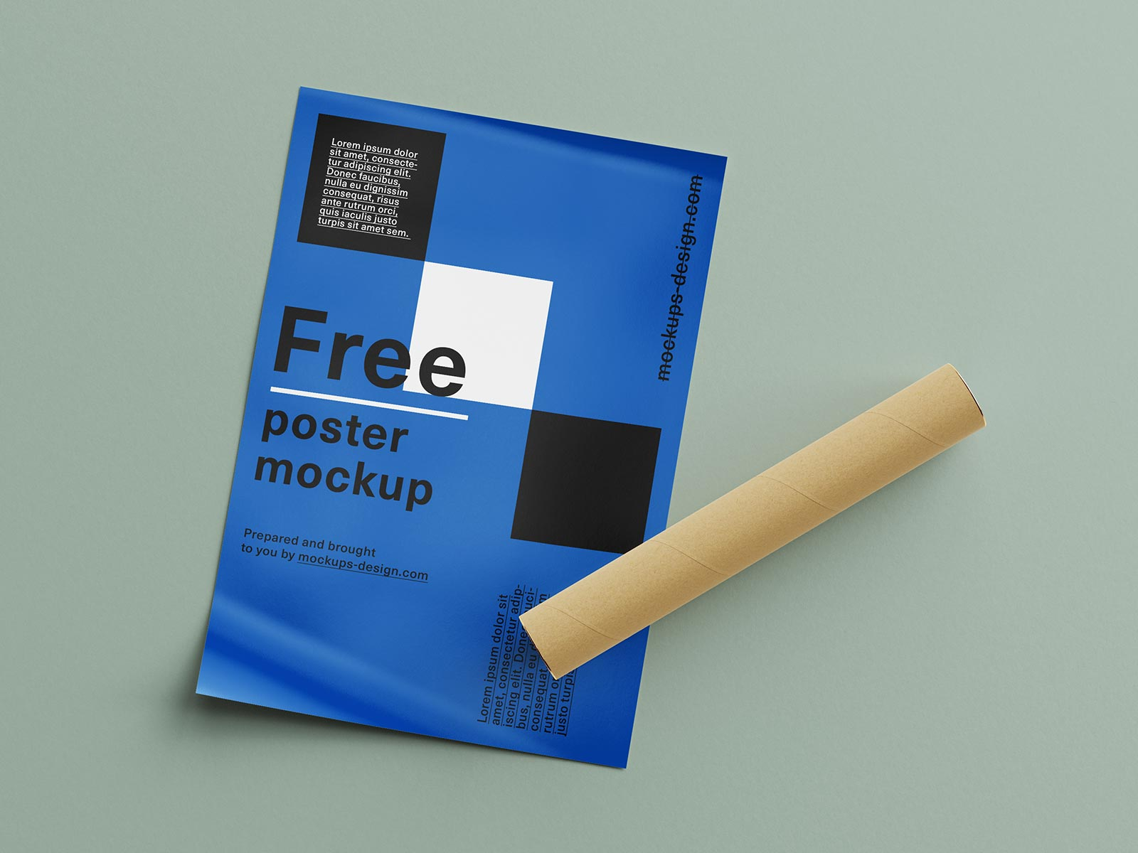 Free Curled Up Poster & Paper Tube Mockup PSD Set (1)