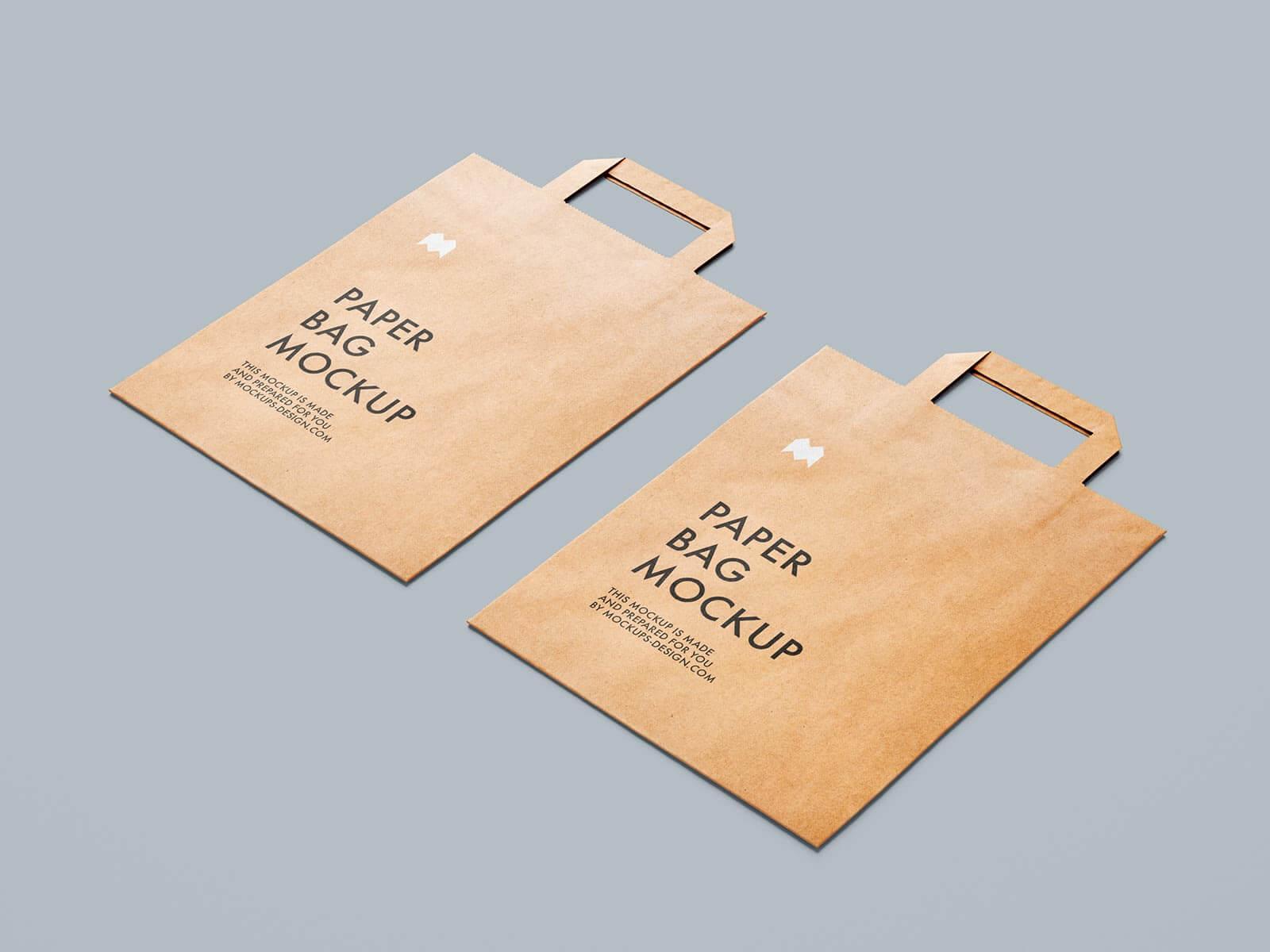 Free Flattened Paper Shopping Bag Mockup PSD Set