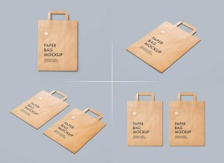 Free Flattened Paper Shopping Bag Mockup PSD Set