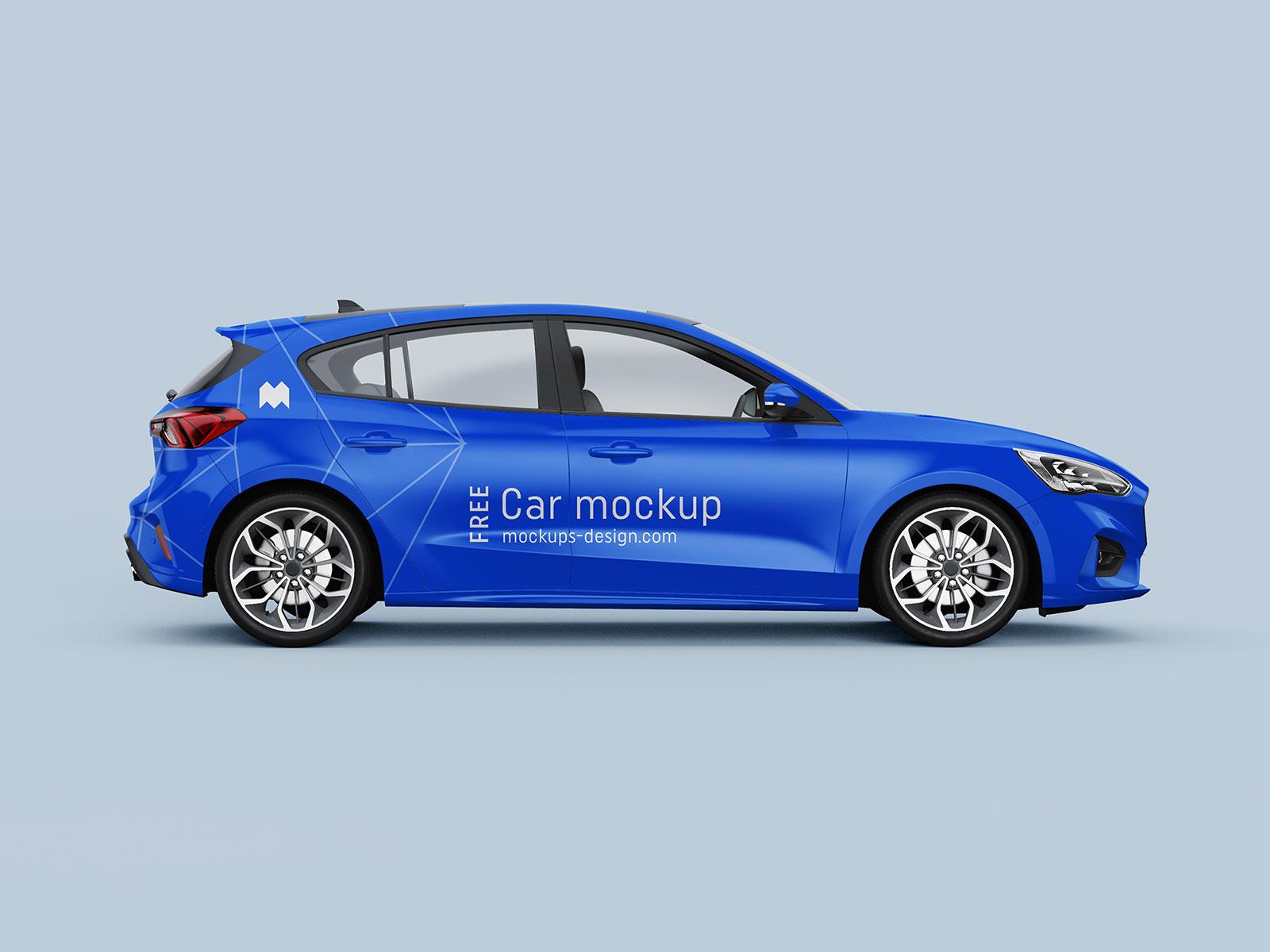 Free Hatchback Car Branding Mockup PSD Set (1)
