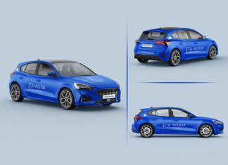 Free Hatchback Car Branding Mockup PSD Set (1)