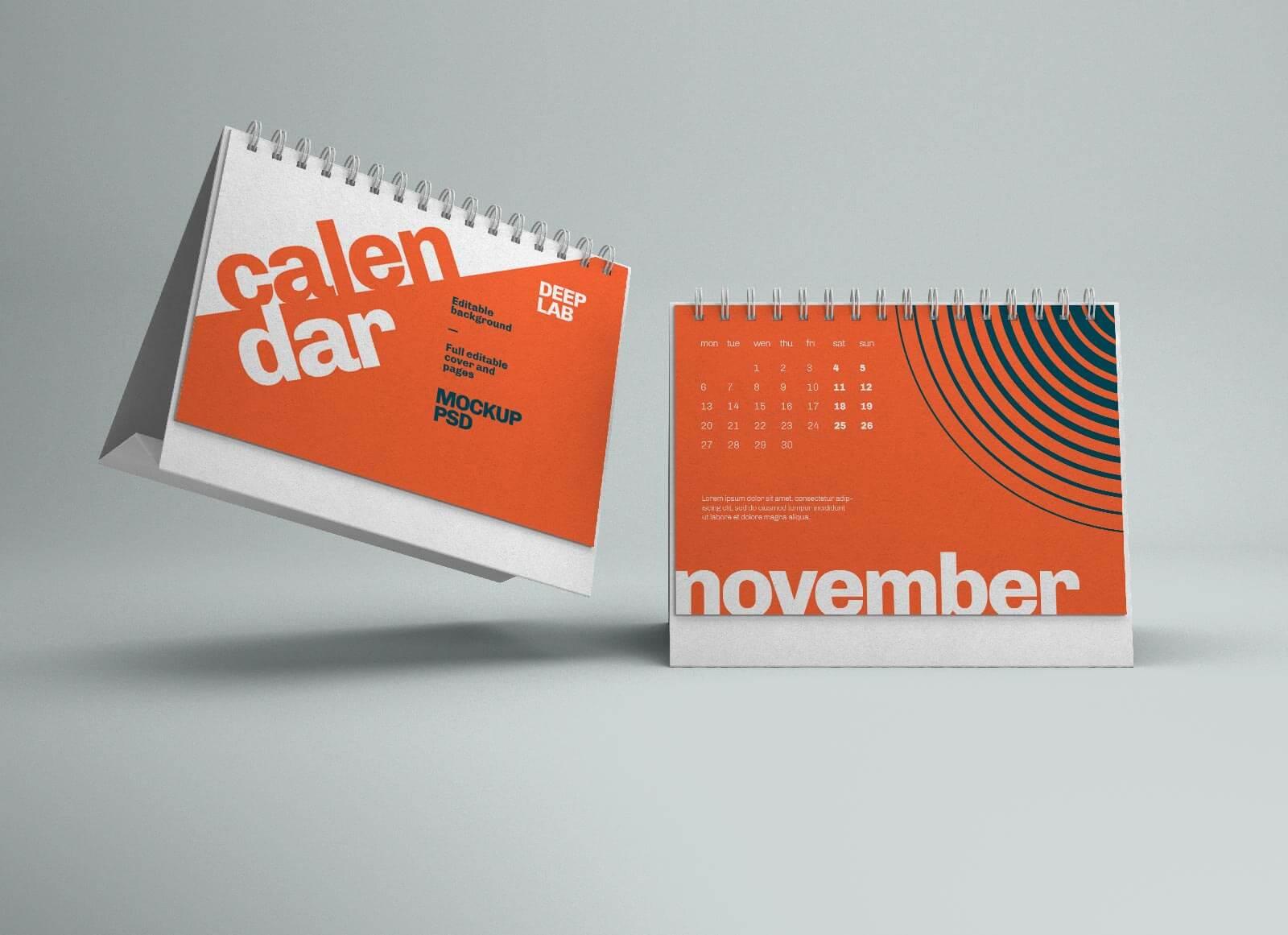 Free Horizontal Desk Calendar 2022 Mockup PSD (2)
