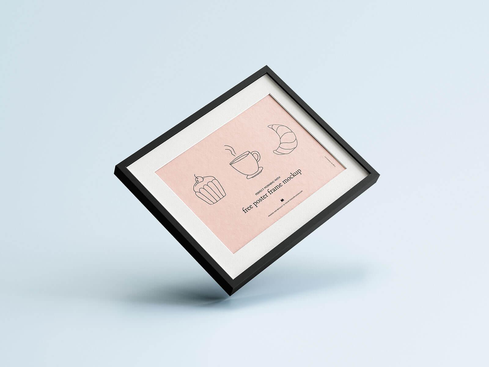 Free Horizontal Poster Frame Mockup PSD Set (1)