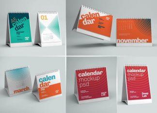 Free Horizontal, Square & Vertical Desk Calendar 2022 Mockup PSD (7)