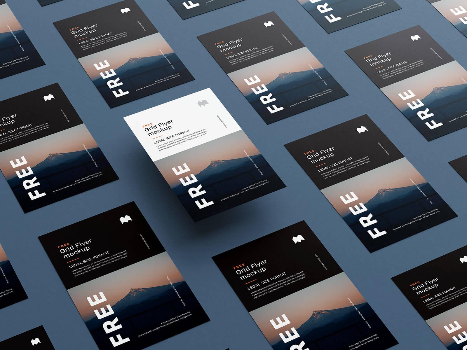 Free Legal Size Grid Flyer Mockup PSD Set