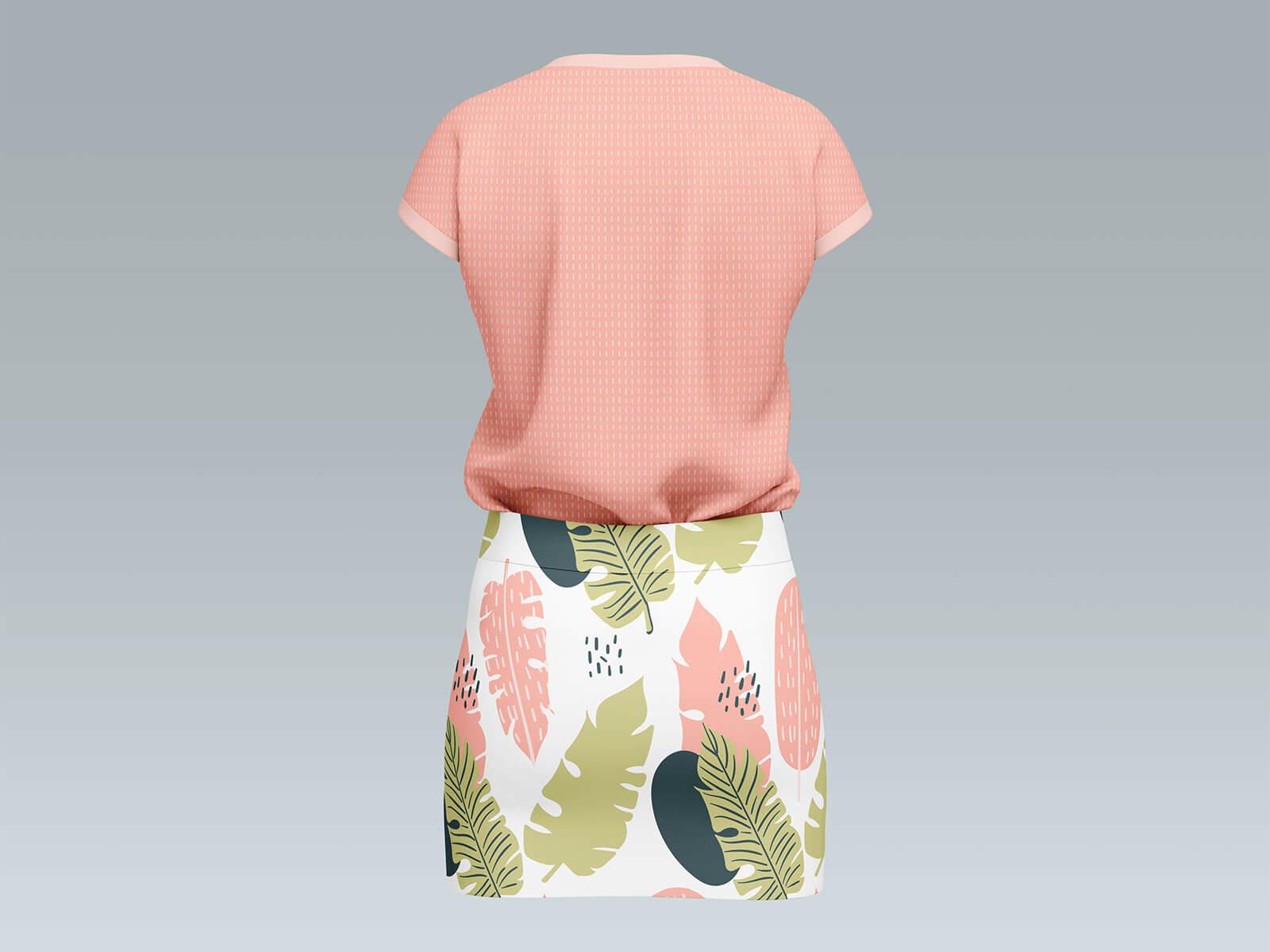 Free Mini Skirt With Short Sleeves T-Shirt Mockup PSD Set