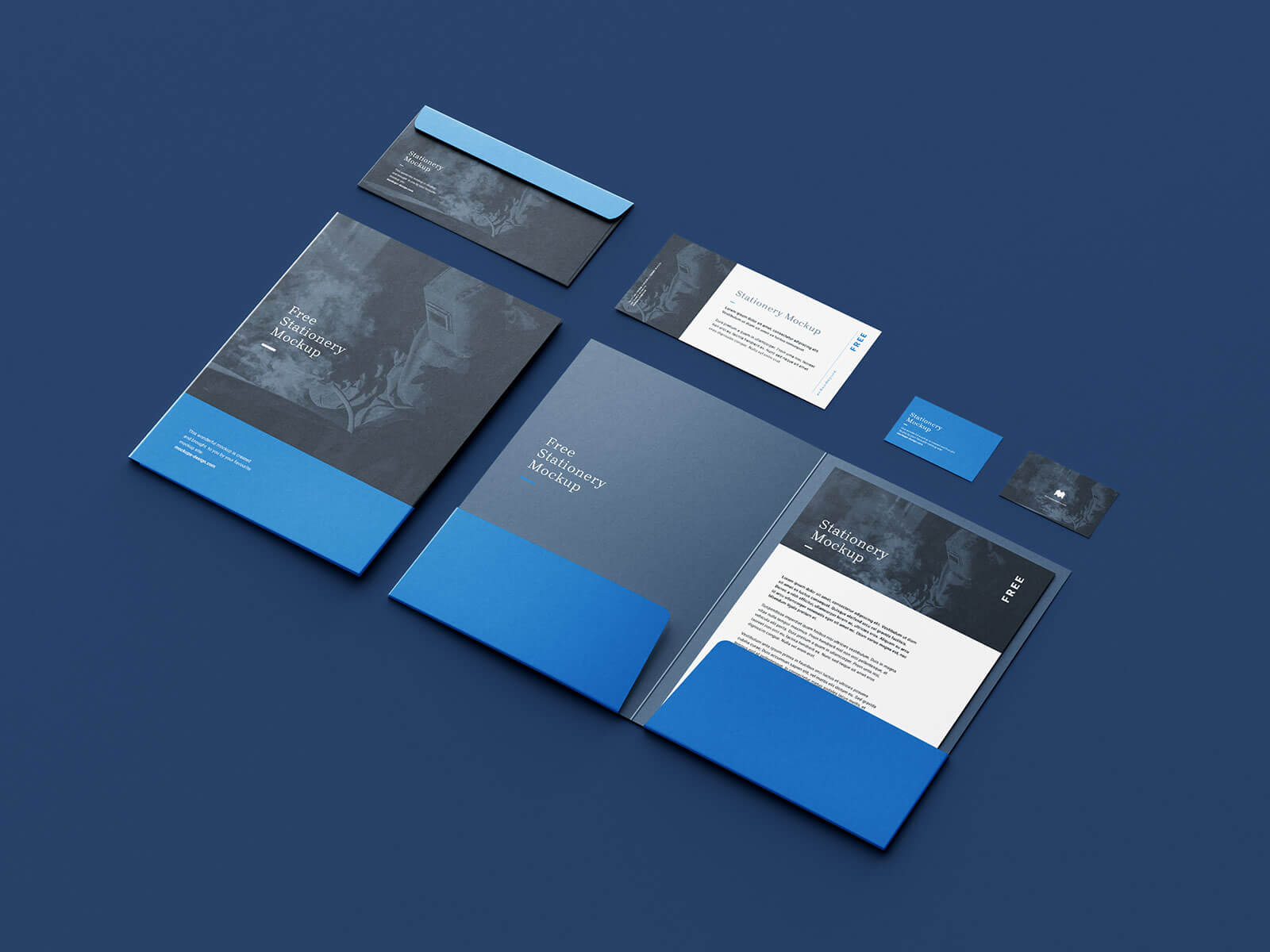 Free Premium Stationery Mockup PSD Set (6 Renders)