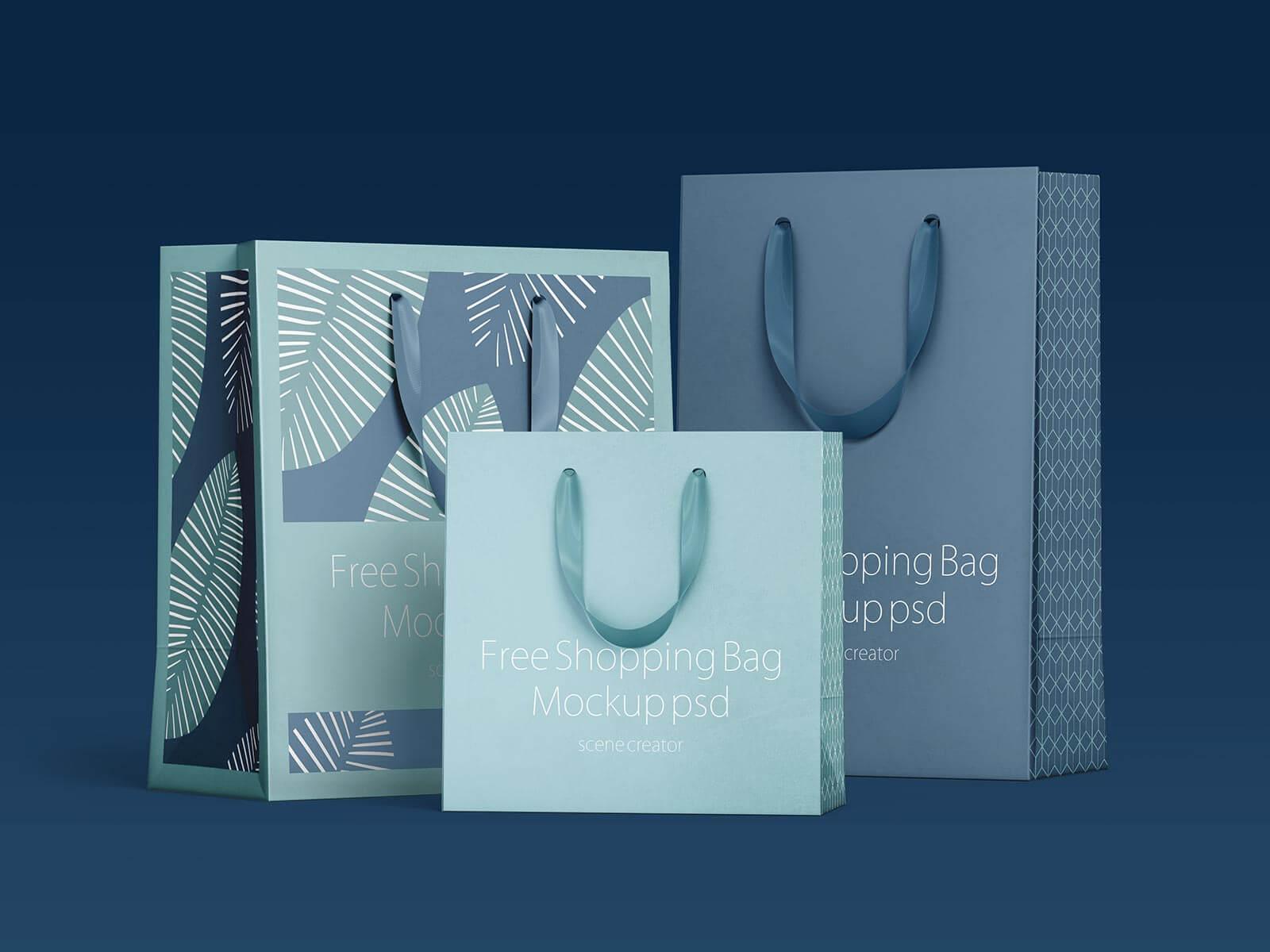 Free Shopping Bag Presentation Mockup PSD Set
