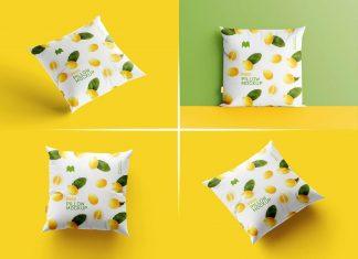 Free Square Cushion Pillow Mockup PSD Set (5)