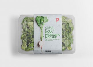 Free Transparent Plastic Vegetable Food Packaging Mockup PSD