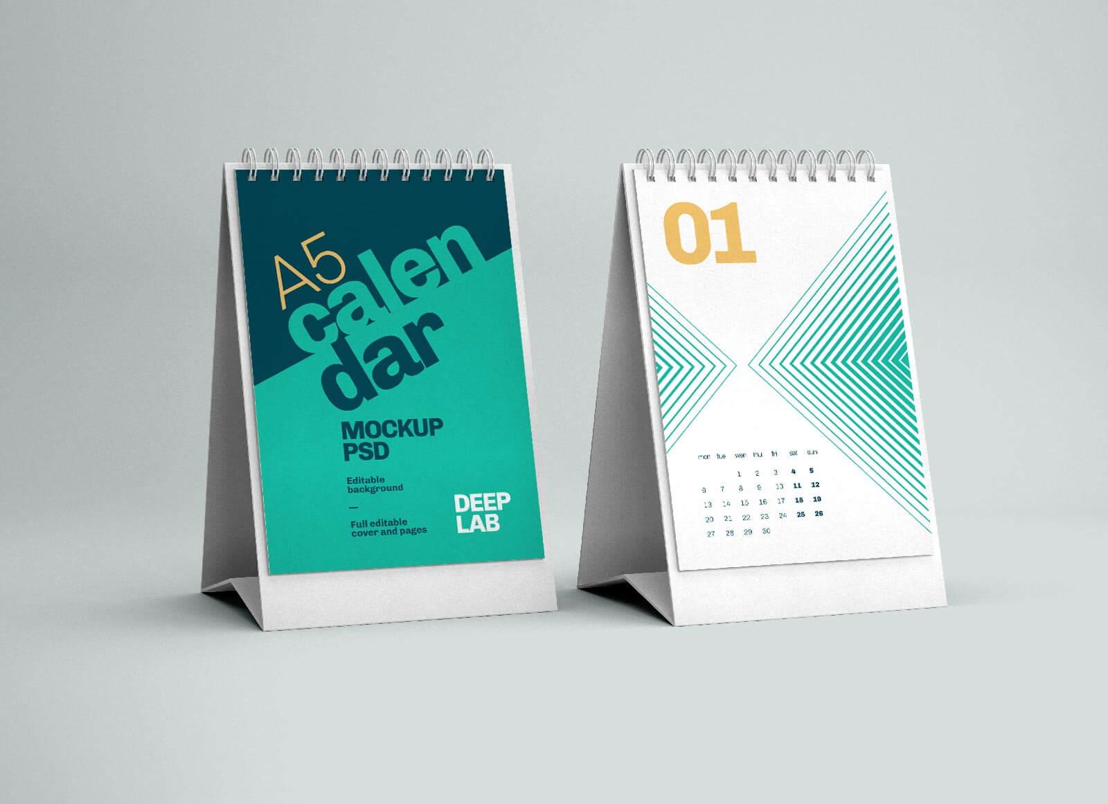 Free Vertical Desk Calendar 2022 Mockup PSD (6)