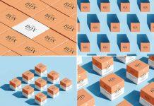 6 Free Grid Box Packaging Mockup PSD Set