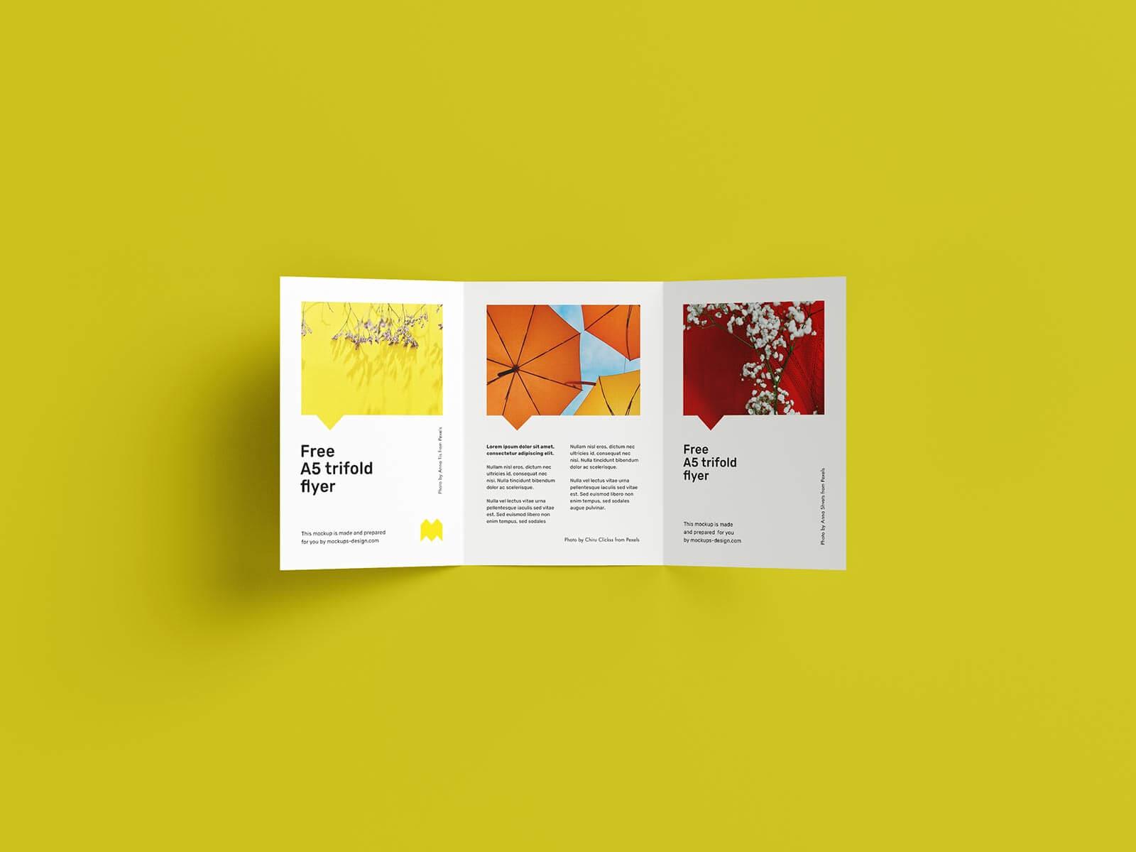 7 Free A5 Tri-Fold Brochure Mockup PSD Set