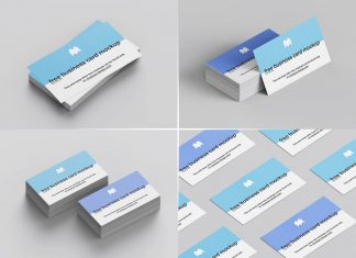 Free 3.5 x 2 Inches Business Card Mockup PSD Set
