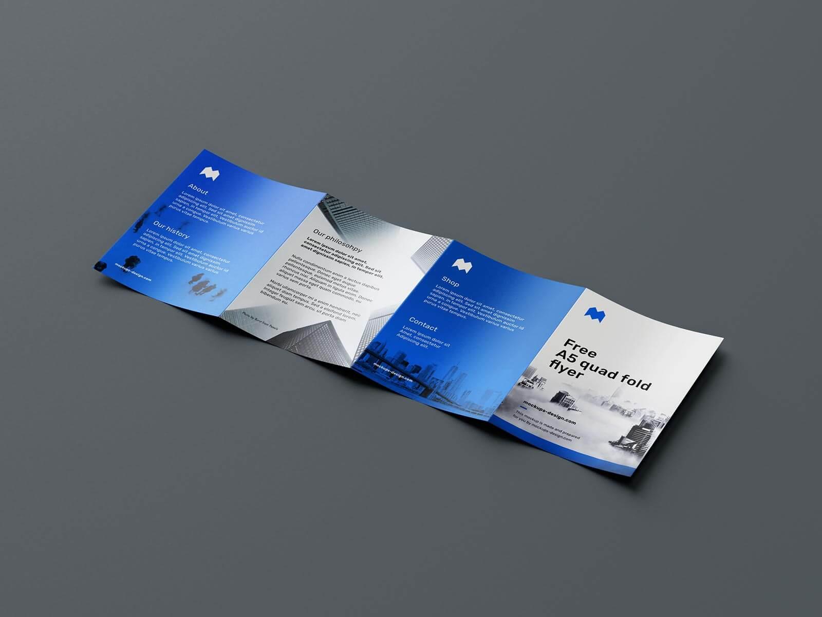 Free 4-Fold Quad Fold A5 Brochure Mockup PSD