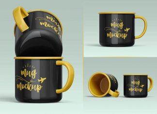 Free Ceramic Mug Mockup PSD Set (4)