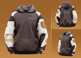 Free Full Sleeves Pullover Hoodie Mockup PSD Set