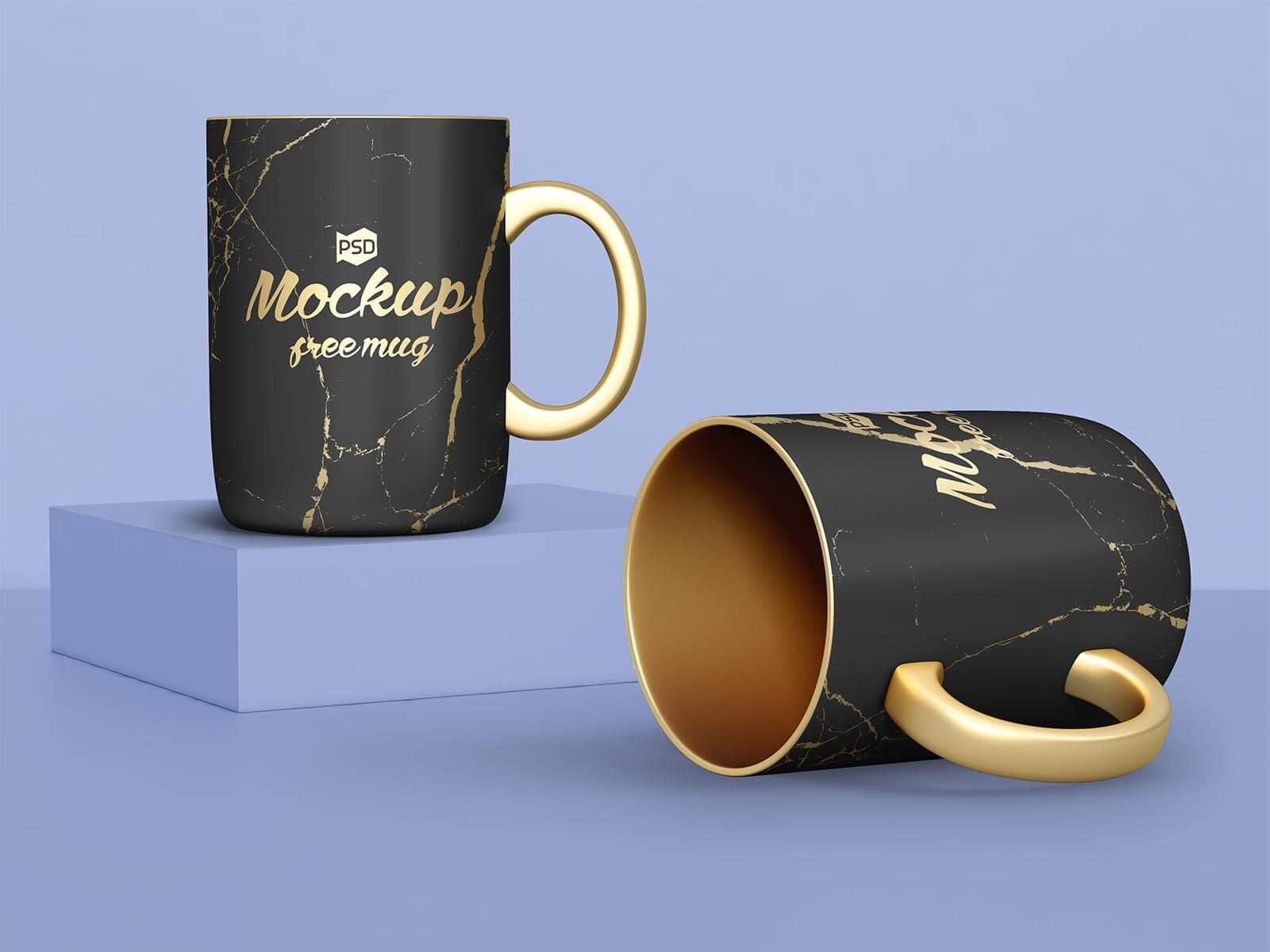 Free Golden & Black Mug Mockup PSD Set