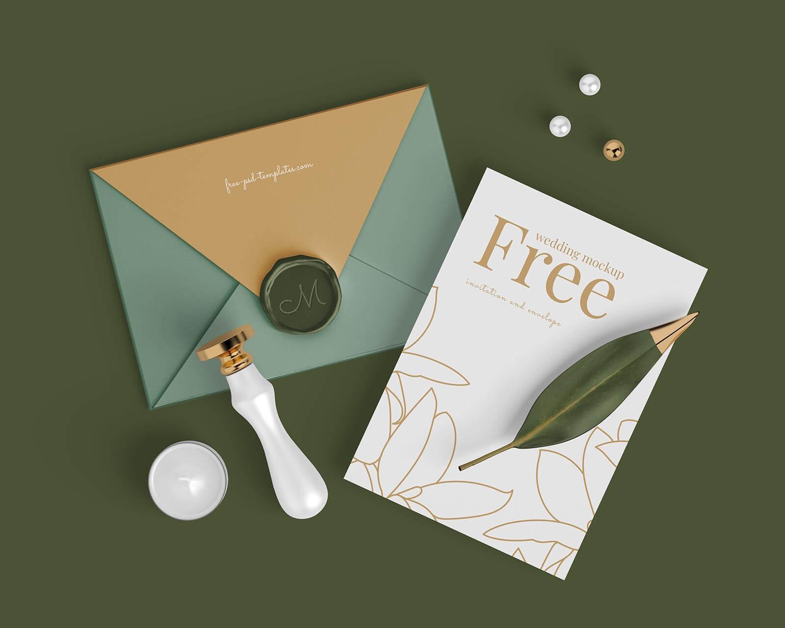 Free Invitation Card & Envelope Mockup PSD Set (1)