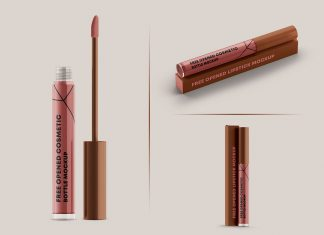 Free Lip Gloss Tube Vial Container Mockup PSD Set